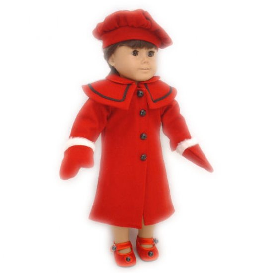 Red Coat Hat Mittens for 18 inch Doll