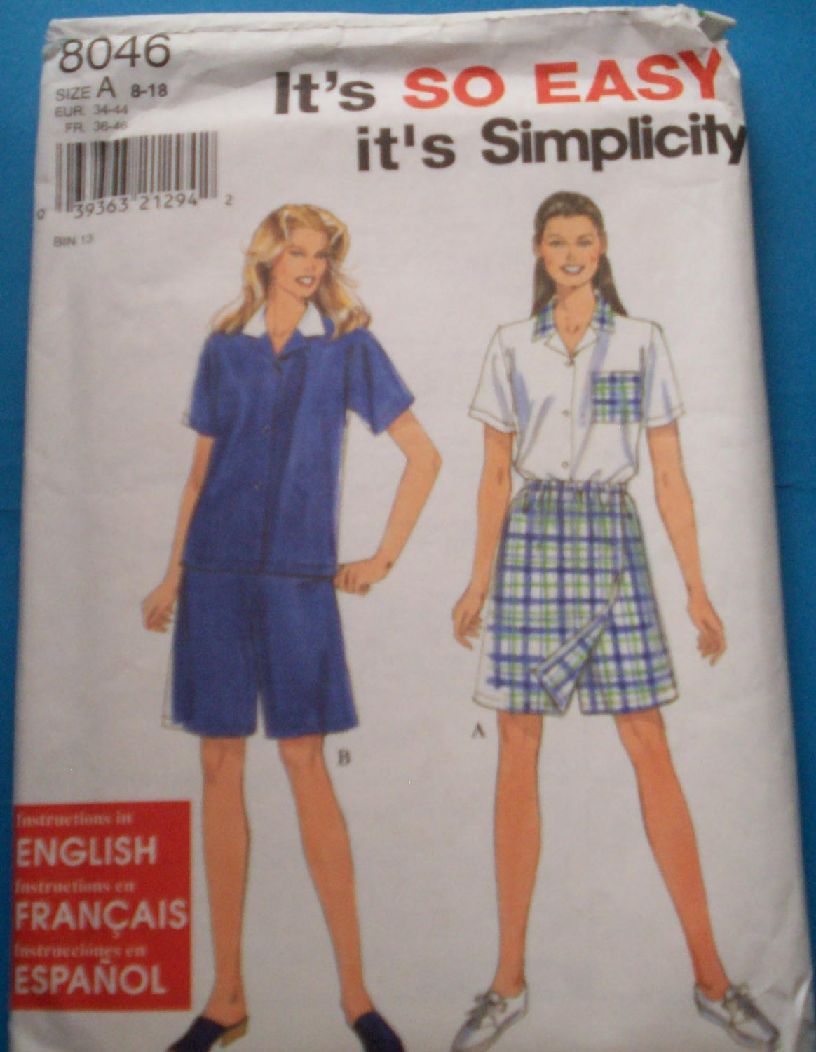 Simplicity pattern #8046, size A, 8-18, misses blouse and short