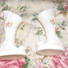 Two White Vase Porcelain Vases with Flower Design