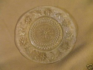 Clear Glass Plate with Flowers