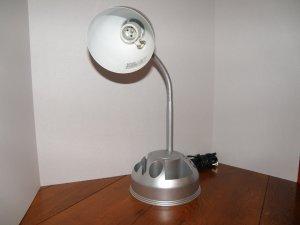 Gray Swivel Desk Lamp with Organizer