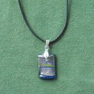 Murano style glass block blue silver pendant necklace