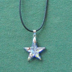 Murano style glass blue multi color star pendant necklace