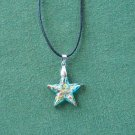 Murano style glass aqua multi color star pendant necklace