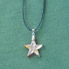 Murano style glass amber multi color star pendant necklace