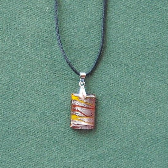 Dichroic Glass  Murano style rectangle red yellow and silver pendants necklace
