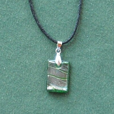 Dichroic Glass Murano style rectangle green and silver pendants necklace