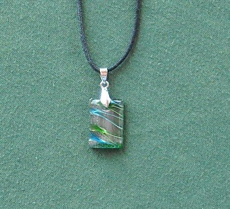 Dichroic Glass  Murano Style Rectangle Green Blue Silver Pendants Necklace