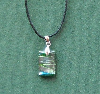 Rectangle Green Blue Silver Dichroic Glass Murano Style Pendants Necklace