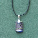 Dichroic Glass  Murano style rectangle blue and silver pendants necklace