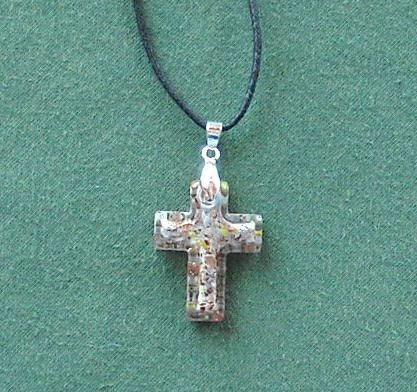 Dichroic Glass Murano Style Cross Amber Silver Pendants Necklace