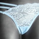 3 pairs designer light blue stretch lace thong G-string