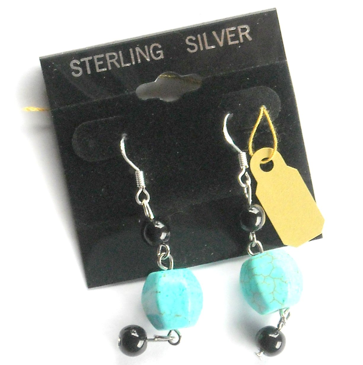 Sterling Silver & Turquoise with black beads Artisan Dangle earrings