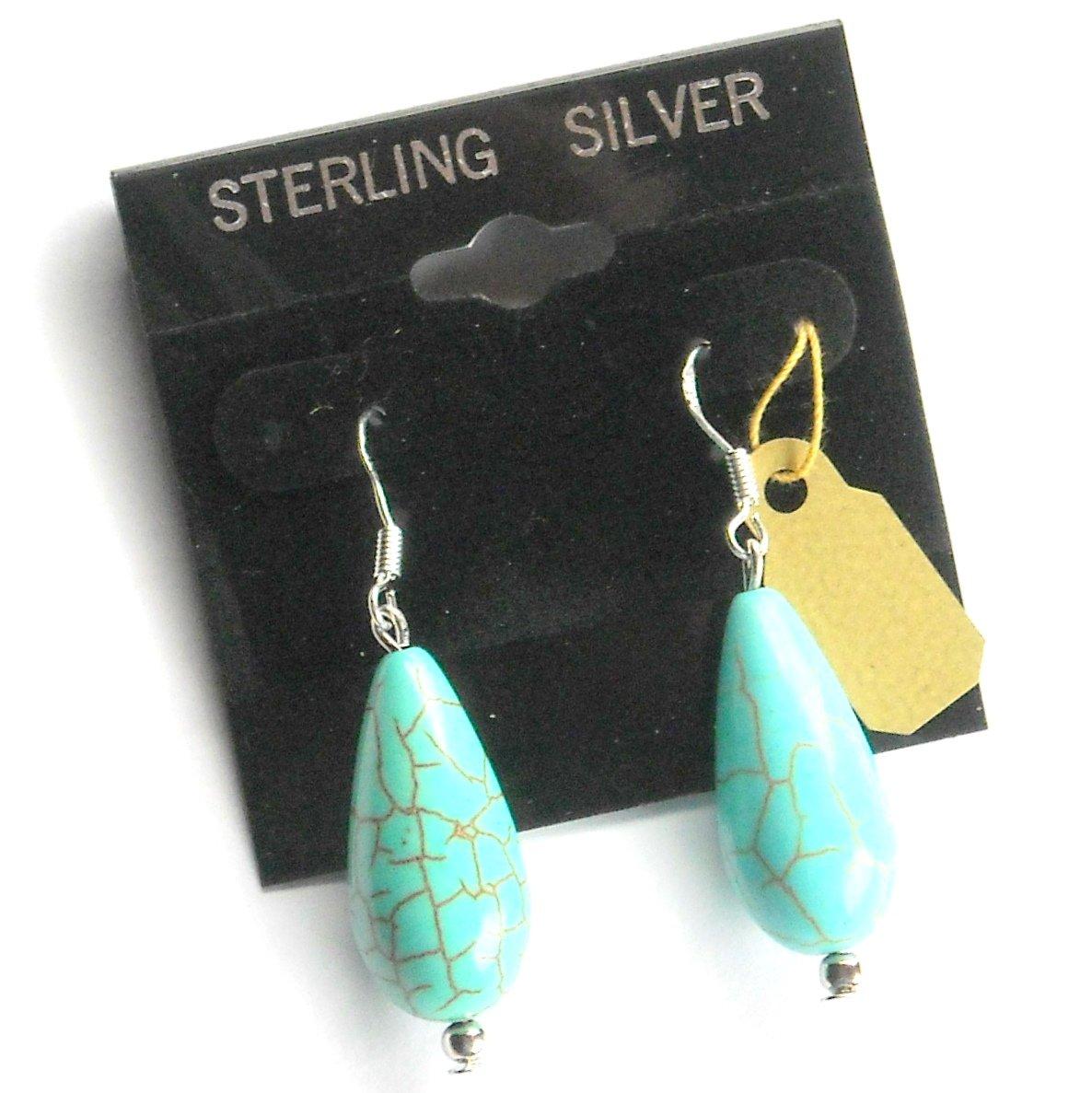 Turquoise Teardrop Artisan Dangle Sterling Silver Earrings
