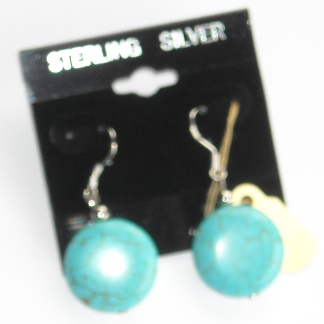 Sterling Silver Turquoise flat round Artisan Dangle earrings