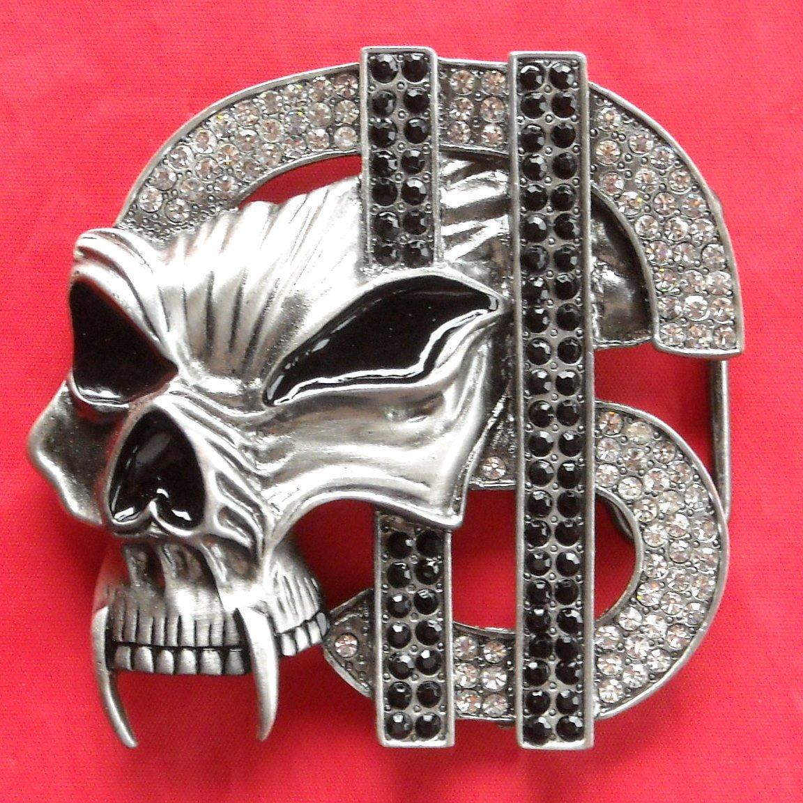 Dollar Sign with Skull Rhinestone metal belt buckle
