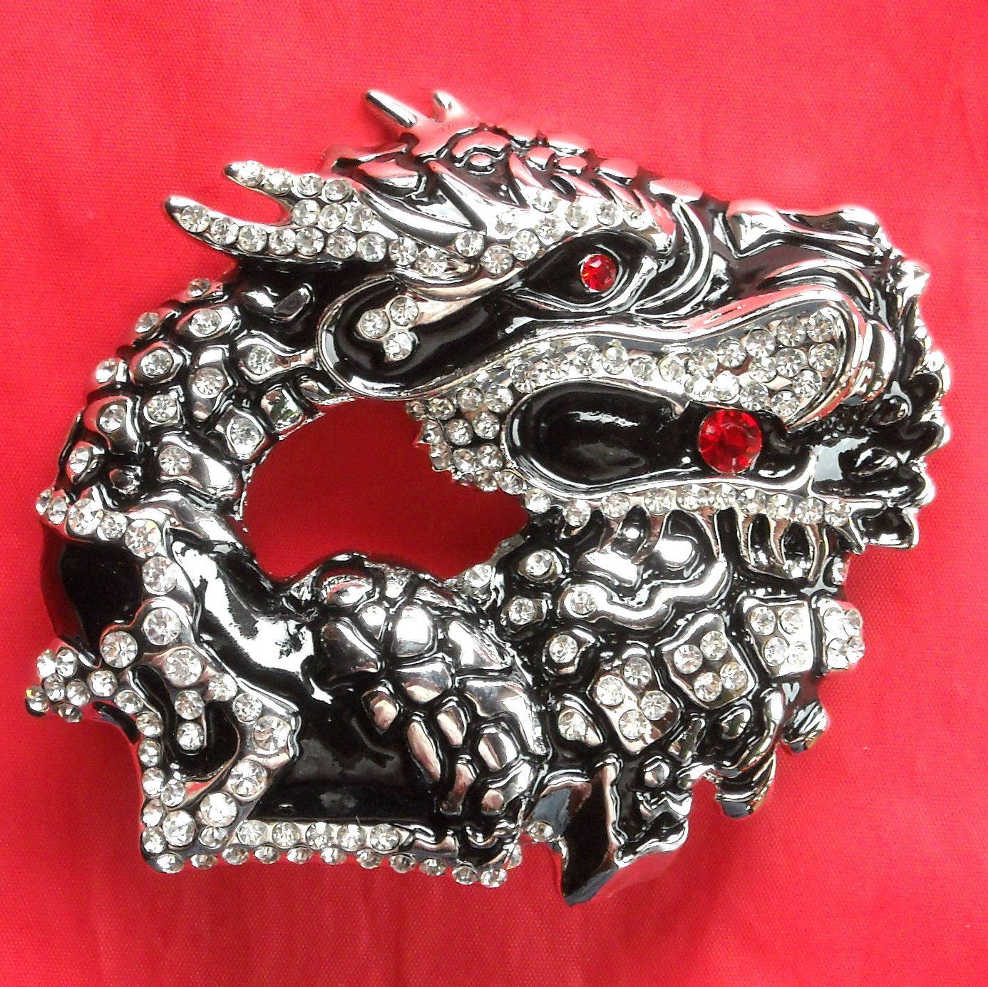 Big Chinese Dragon Rhinestone metal belt buckle