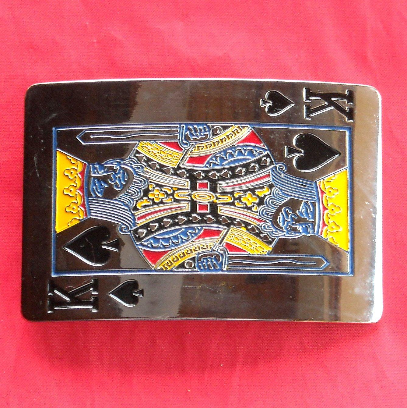 Silver color King of Spades enamel metal belt buckle