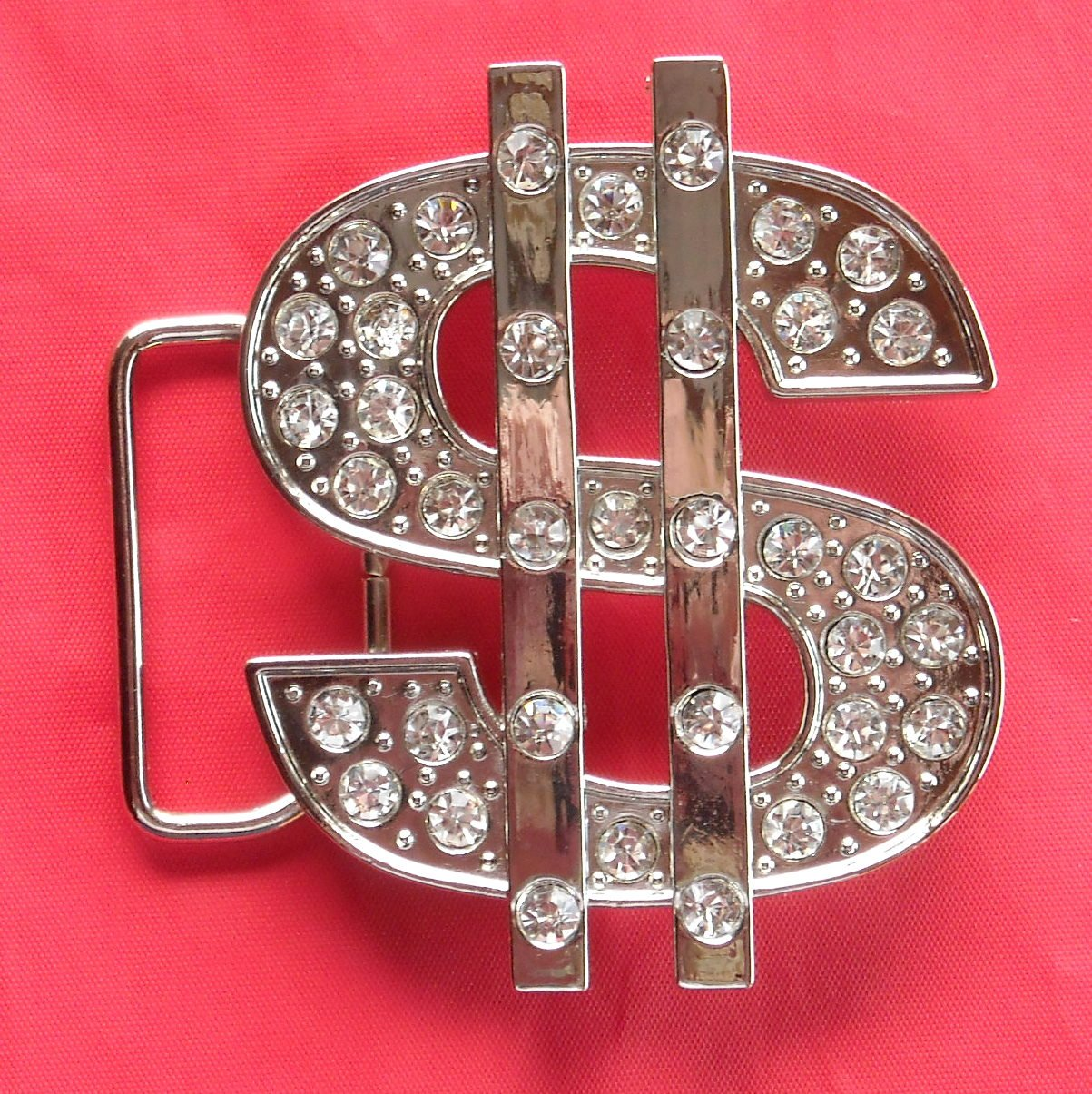 New Silver color Dollar Sign with Rhinestone metal belt buckle