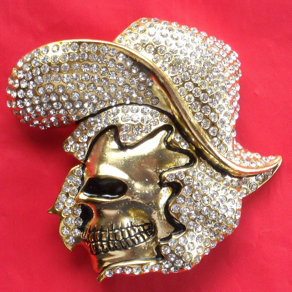 Golden Cowboy Skull with Rhinestone metal belt buckle