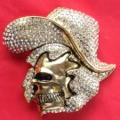 Golden Cowboy Skull with Rhinestone metal belt buckle