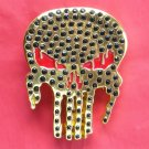 Golden Slimy Skull with Rhinestone metal belt buckle