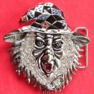 Woodoo Silver color 3D Head with Rhinestone metal belt buckle