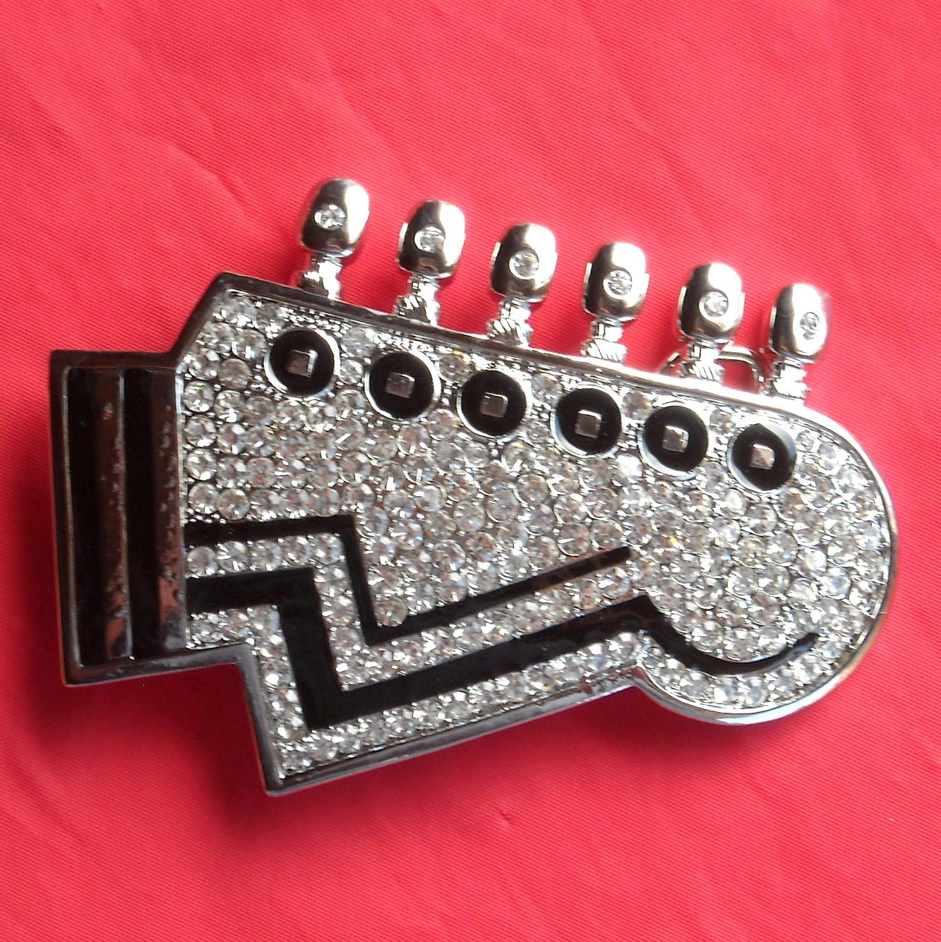 Silver color Guitar with Rhinestone metal belt buckle