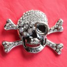 Skull and Crossbones Silver color with Rhinestone metal belt buckle