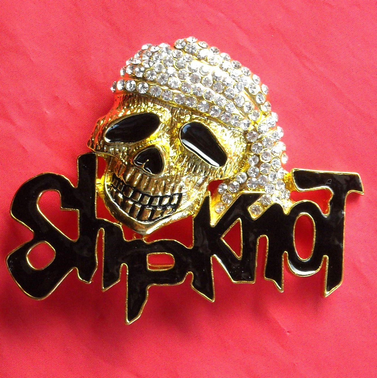 Pirate Skull with Rhinestone metal Brass color belt buckle