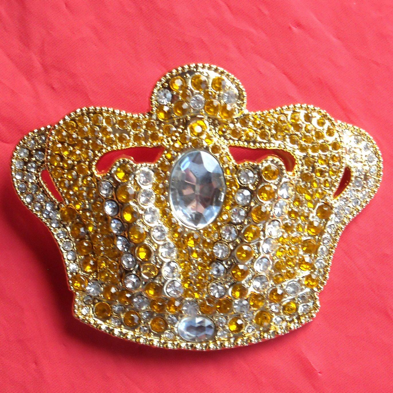 Royal King with Rhinestone Brass color metal Crown belt buckle
