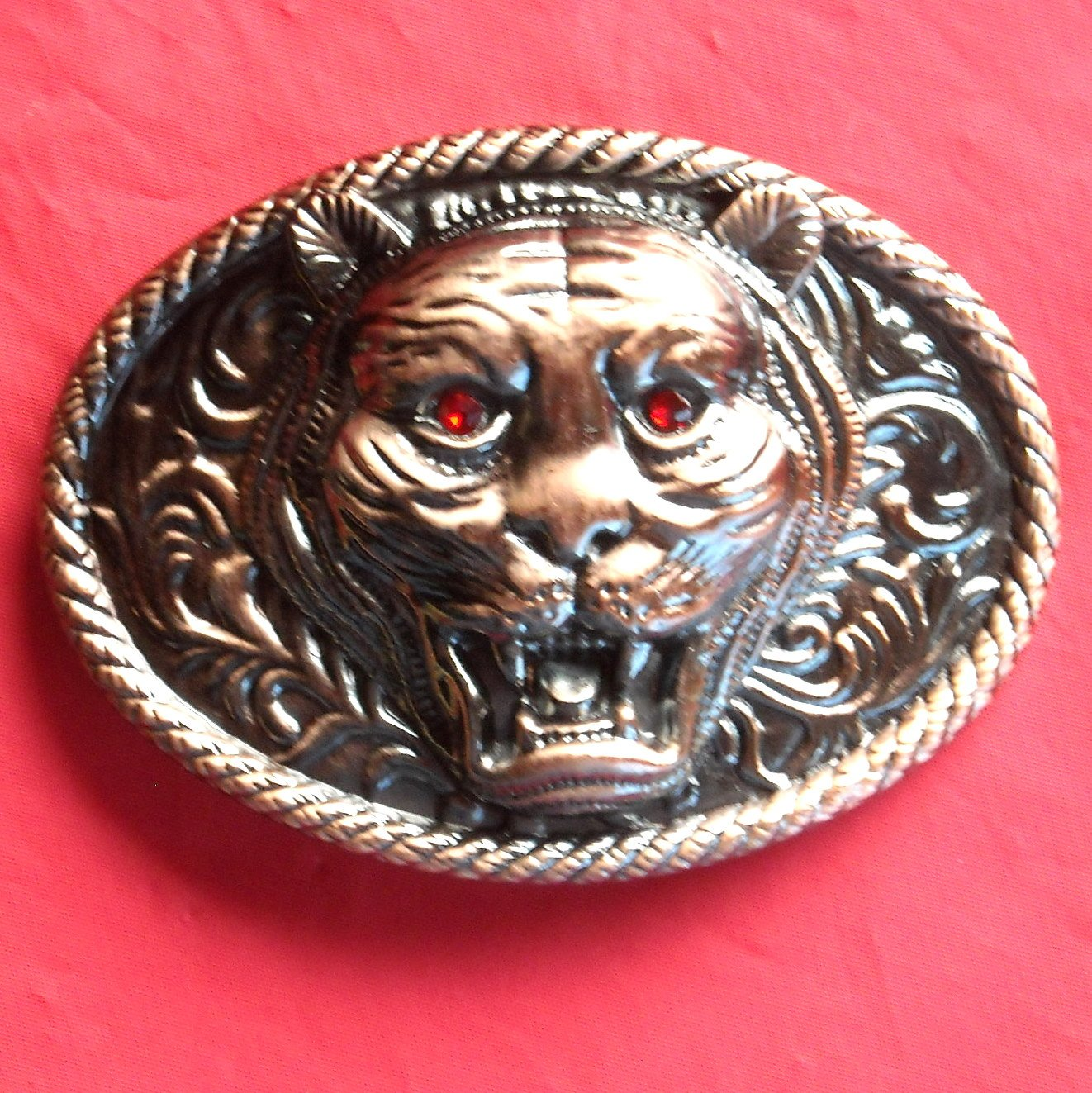 Tiger Bronze color with Rhinestone metal belt buckle