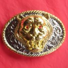 Tiger Gold Silver Color Rhinestone Metal Belt Buckle