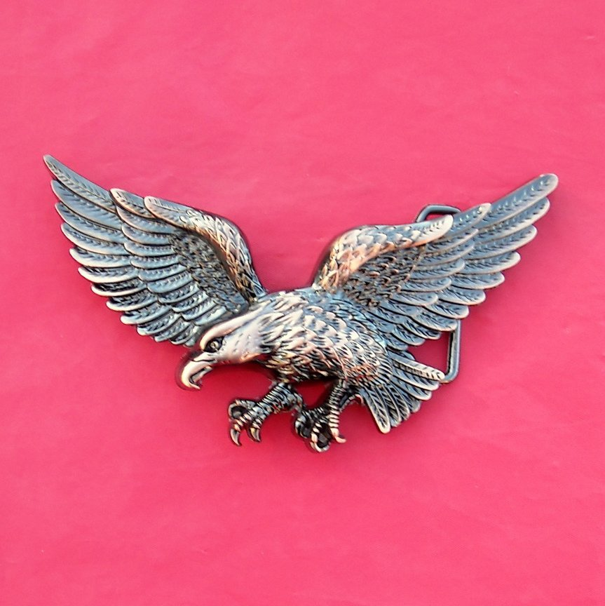 Flying Bald Eagle Bronze Color Belt Buckle
