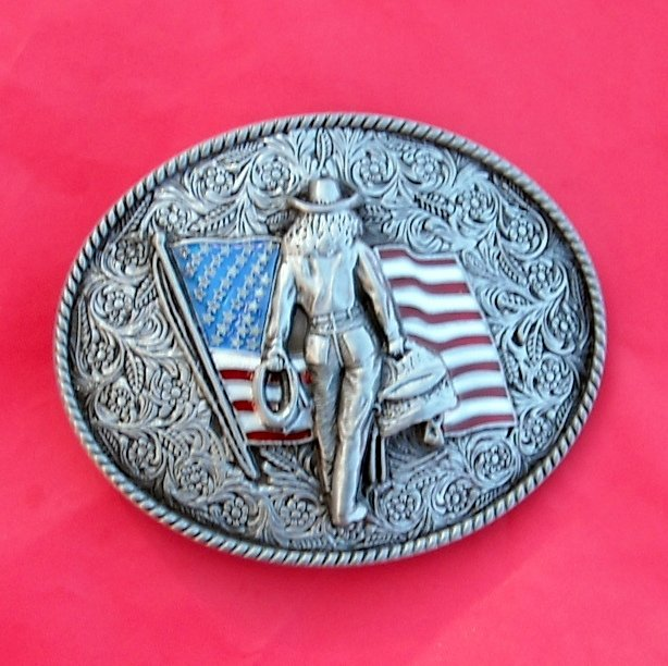 Cow Girl American Flag Pewter Color Belt Buckle