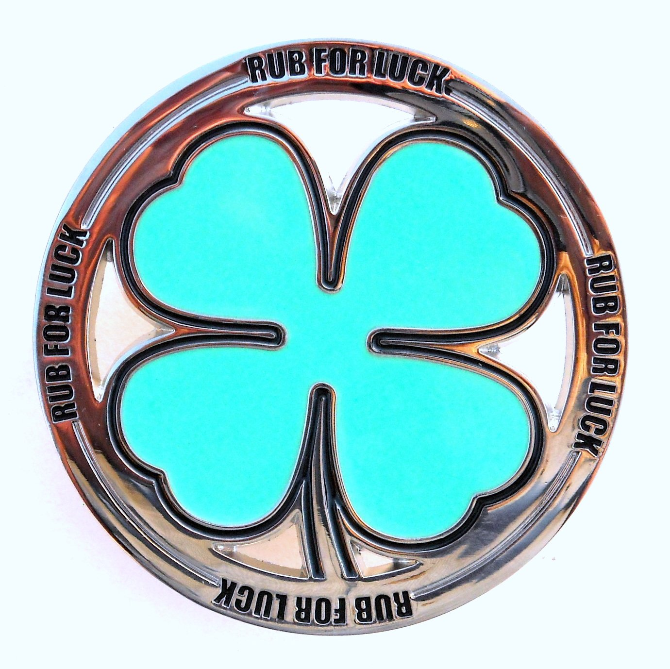 Shamrock Rub For Luck Four Leaf Clover Belt Buckle