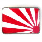 Rising Sun Metal Red White Heavy Belt Buckle