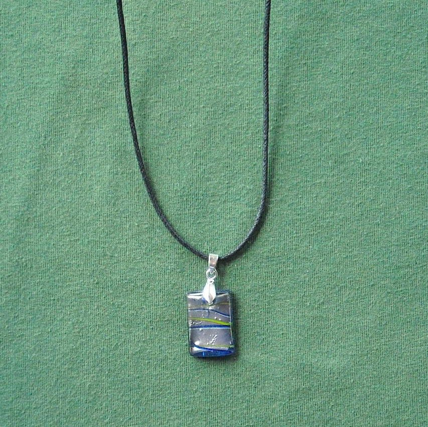 Blue Silver Murano Style Glass Block Pendant Necklace