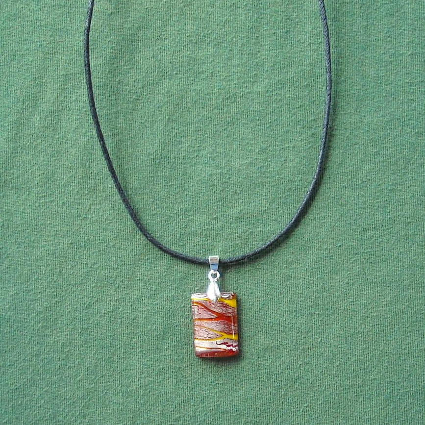 Glass Block Orange Silver Murano Style Pendant Necklace