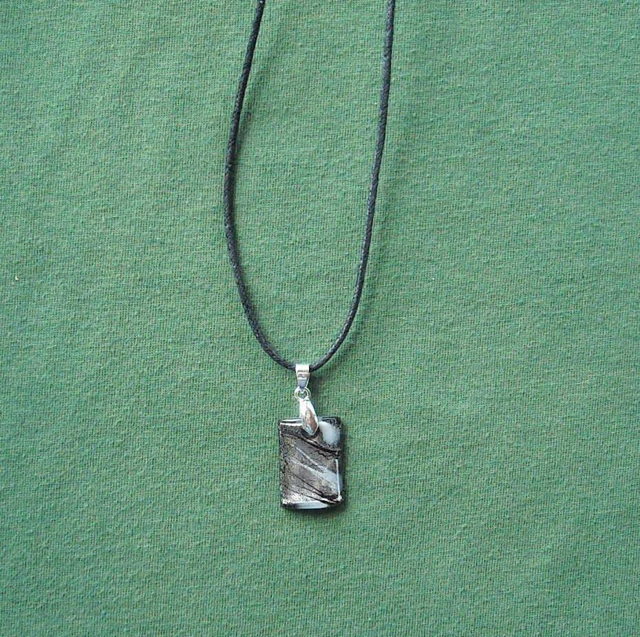 Murano Style Glass Block Purple Silver Pendant Necklace