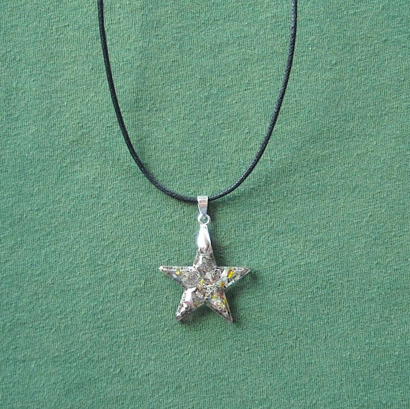 Murano Style Glass Star Pendant Necklace