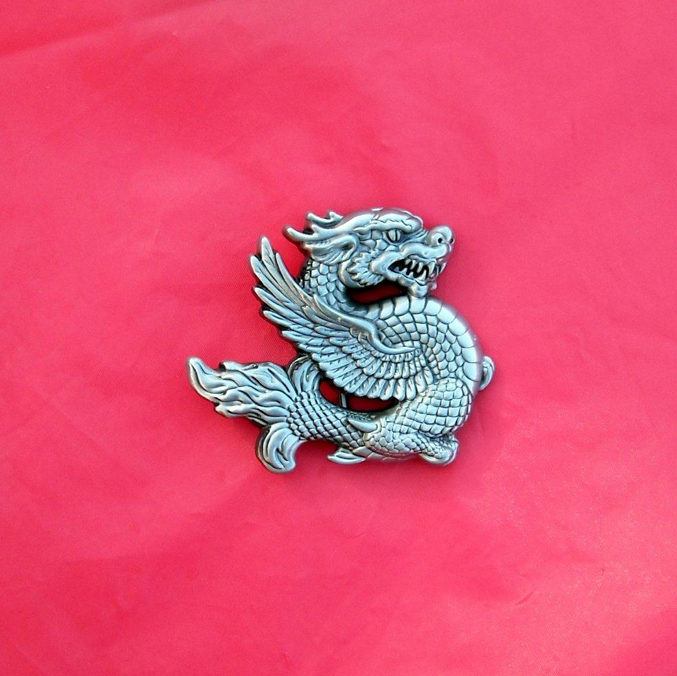 Flying Fantasy Dragon 3D Pewter Color Belt Buckle