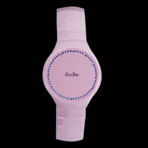 Godier Abyss - Pink Porcelain Ceramic LED Touch Screen Watch