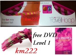 Pink Hoopnotica Travel Hula Hoop Exercise +Level 1 DVD -- SHIP PRIORITY MAIL (2-3 DAYS DELIVERY)