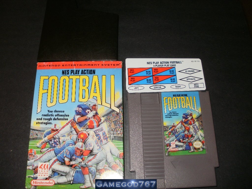 NES Play Action Football - Nintendo NES - With Box, Catridge Sleeve & Play Cards
