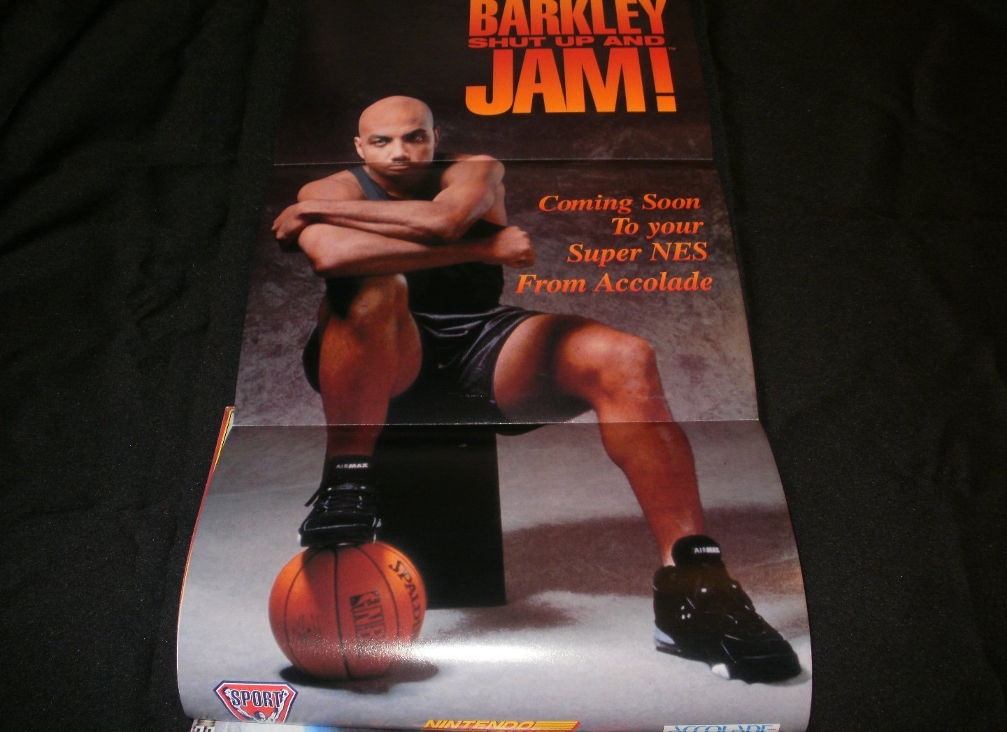 Barkley: Shut Up and Jam Poster - Nintendo Power April, 1994 - Never Used