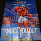 Muhammad Ali Heavyweight Boxing Poster - Sega Genesis 1992 - Never Used