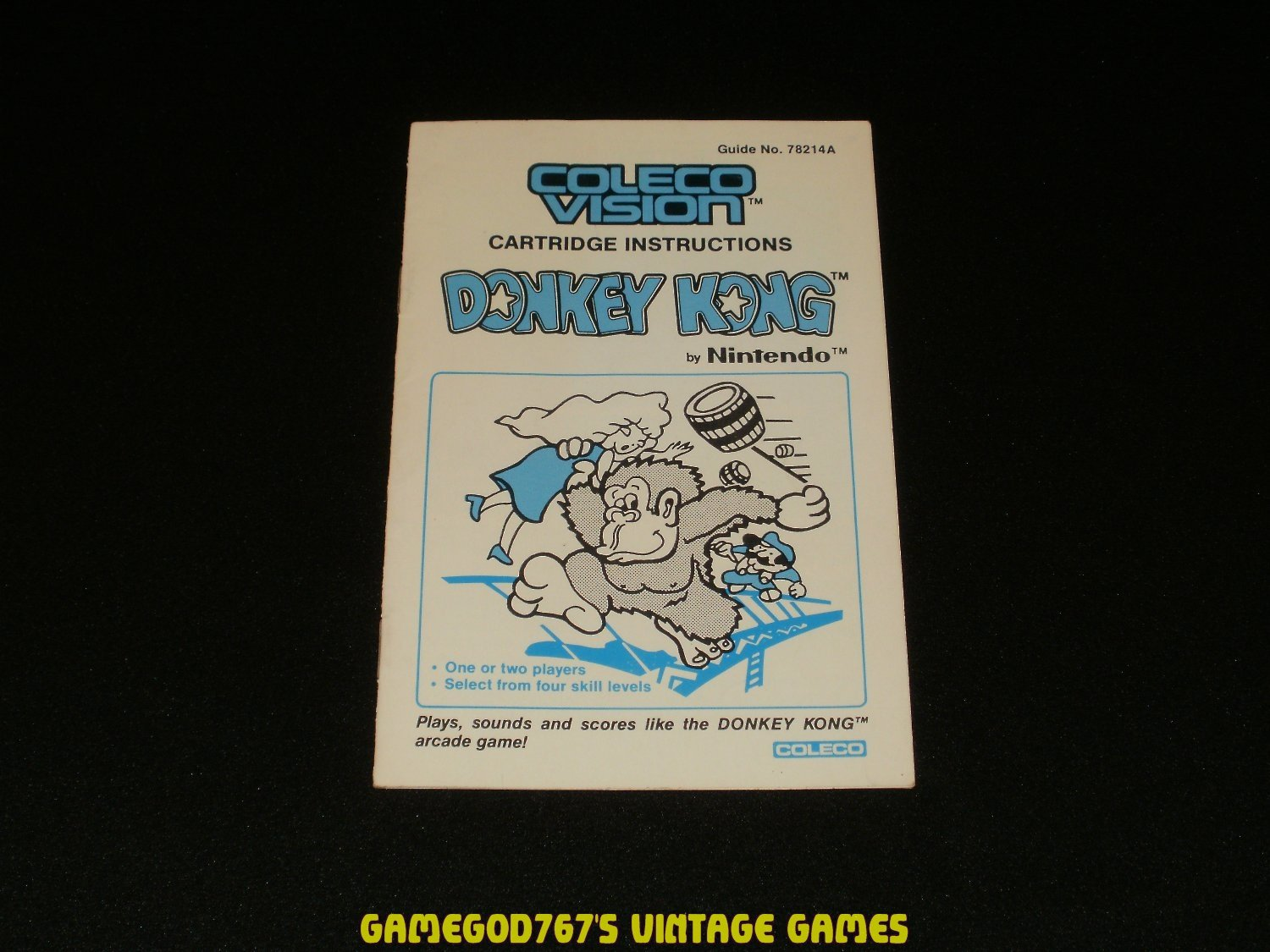 Donkey Kong - ColecoVision - 1982 Manual Only