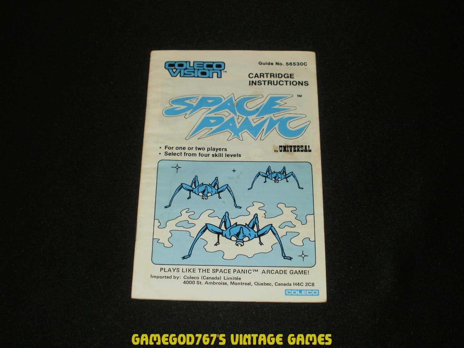 Space Panic - ColecoVision - 1983 Manual Only - Canadian Version