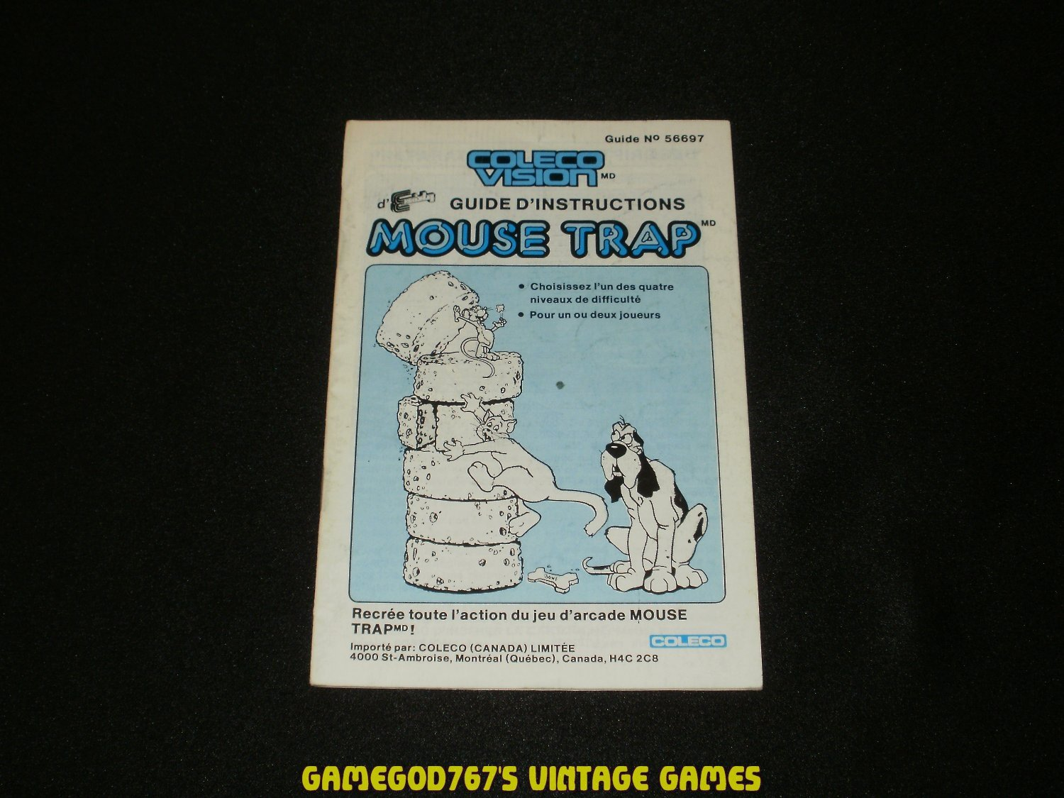 Mouse Trap - ColecoVision - 1982 Manual Only - Canadian Version